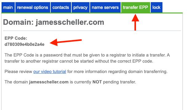 Bluehost EPP code