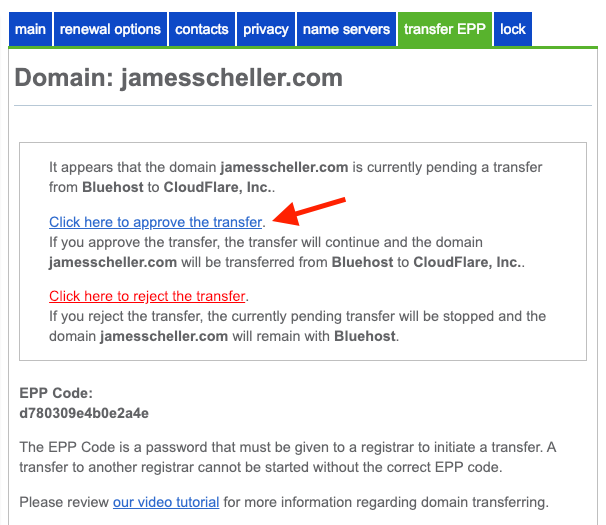 Bluehost confirm epp domain transfer