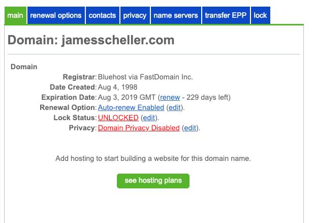 Bluehost Locked Domain