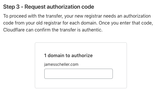 Cloudflare EPP authorization code for domain registrar