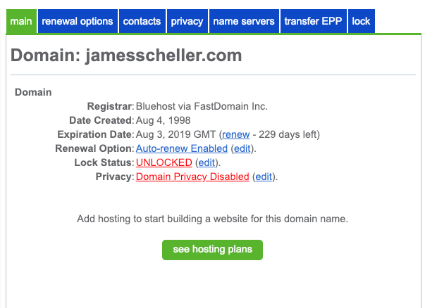 Bluehost Locked Domain